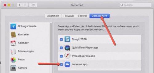 Einstellung, um den Bildschirm bei Zoom auf dem Mac freizugeben