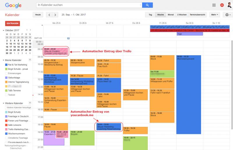 Marketing Aufgaben organisieren mit Google Calendar - Screenshot